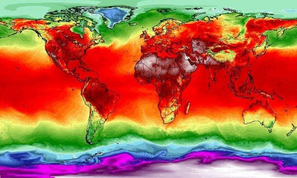 Британские синоптики показали необычную карту распределения температур на планете