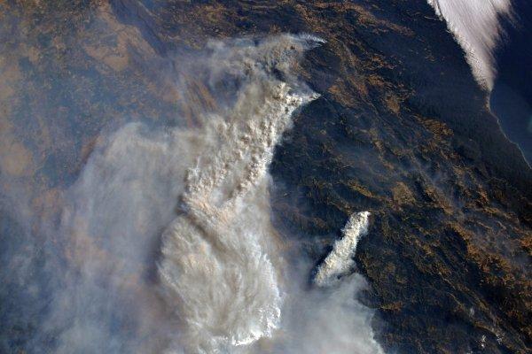 Космонавт Олег Артемьев показал, как выглядит пожар в Калифорнии из космоса