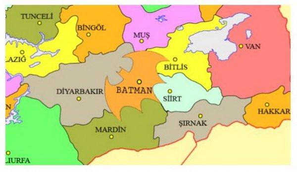 В провинции Батман хотят изменить границы региона, чтобы походить на символ супергероя