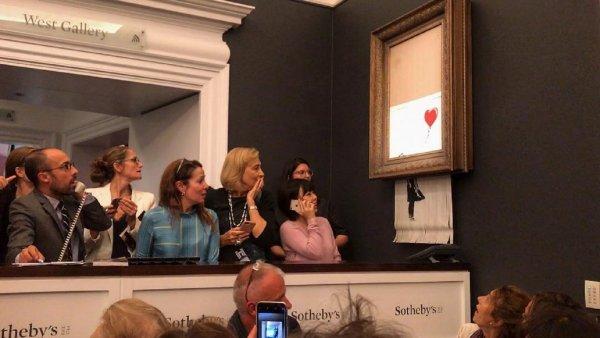Картина Бэнкси за 1,3 млн долларов самоуничтожилась после продажи на торгах в Лондоне